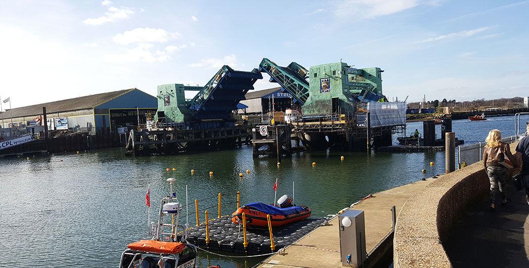 Bridge opening in Poole quay
