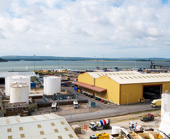 aerial view of the Poole Quay industrial side